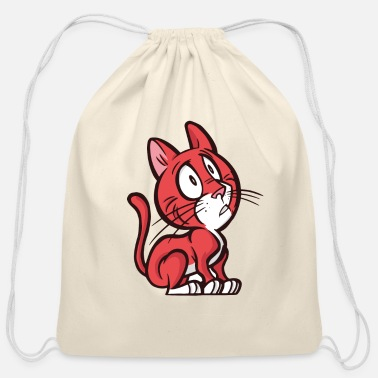 Shy Cat - Cotton Drawstring Bag