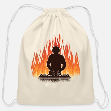 DJ With Fire And Flames - Cotton Drawstring Bag