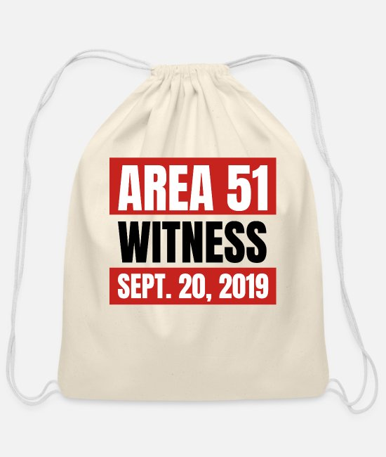 Alien Bags & Backpacks - Area 51 Witness - Cotton Drawstring Bag natural