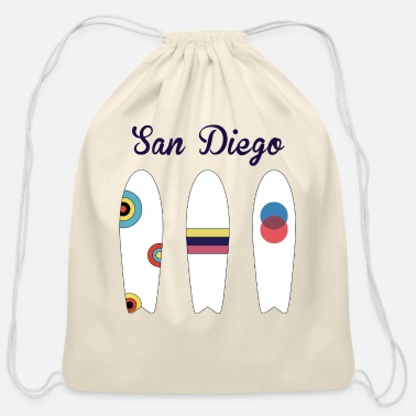 San Diego Surfing San Diego - Cotton Drawstring Bag