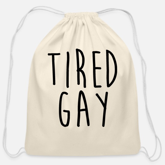 Tired Bags & Backpacks - Tired Gay - Cotton Drawstring Bag natural
