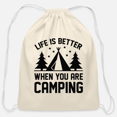 Summer Life Is Better Camping - Cotton Drawstring Bag