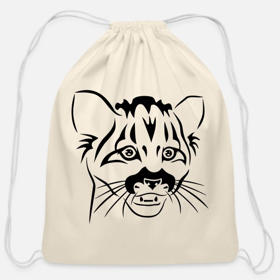 Bobcat Bags & Backpacks - Little Feline Predator - Cotton Drawstring Bag natural