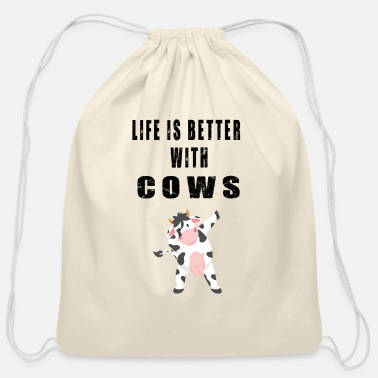Cow Adorable Life Cow Lover Quotes - Cotton Drawstring Bag