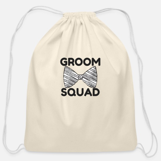 Funny Bags & Backpacks - Grooms Squad Funny Groomsmen Gifts for Men - Cotton Drawstring Bag natural