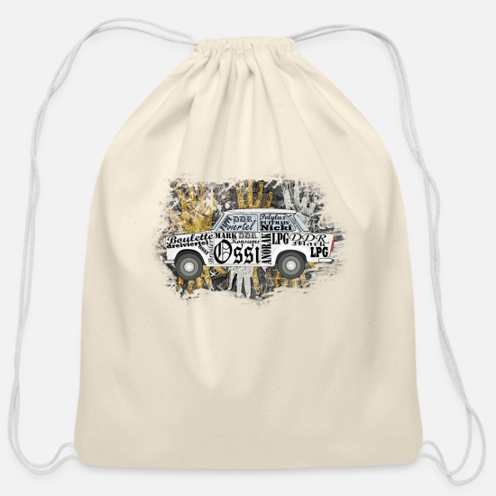 Gift Idea Bags & Backpacks - GDR car east germany ossi trabi - Cotton Drawstring Bag natural