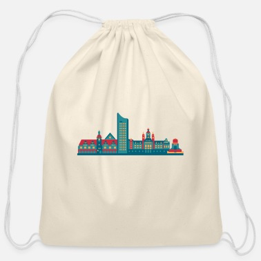 East Germany City of Leipzig skyline east germany - Cotton Drawstring Bag
