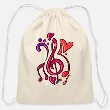 Rock N Roll Guitar Music Note Musician - Cotton Drawstring Bag