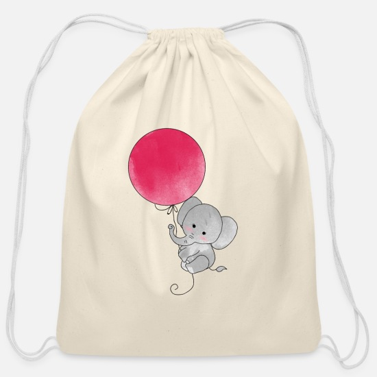 Birthday Bags & Backpacks - Cute Little Elephant Flying Balloon Magic - Cotton Drawstring Bag natural