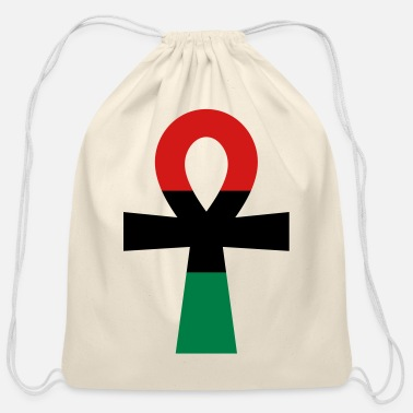 Red Black And Green Red, Black & Green Ankh - Cotton Drawstring Bag