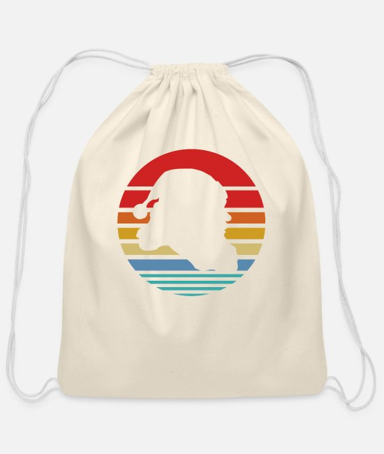 Hipster Bags & Backpacks - Retro Style T Shirt Silhouette Vintage Christmas - Cotton Drawstring Bag natural