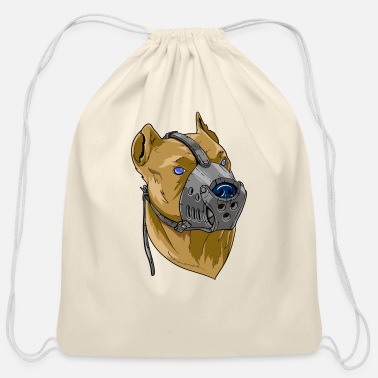 Attack Dog Dog with a muzzle attack dog - Cotton Drawstring Bag