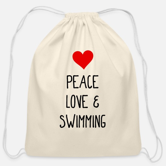 Water Bags & Backpacks - Peace, Love and Swimming - Pool - Water - Cotton Drawstring Bag natural
