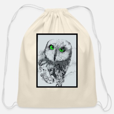 Original Art Original Owl Art - Cotton Drawstring Bag