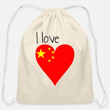 My Favorite Country I love china, gift idea, chinese flag - Cotton Drawstring Bag
