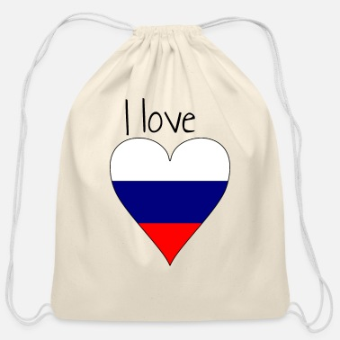 My Favorite Country I love Russia, Gift idea, Russian Flag - Cotton Drawstring Bag