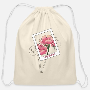 Aesthetic PINK flowers aesthetic design - Cotton Drawstring Bag