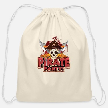 Pirate Party pirate party sketch - Cotton Drawstring Bag