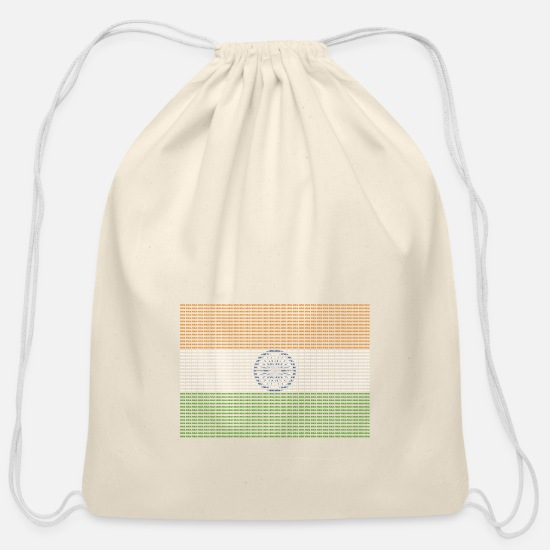 Indian Bags & Backpacks - Indian Flag New Delhi - Cotton Drawstring Bag natural