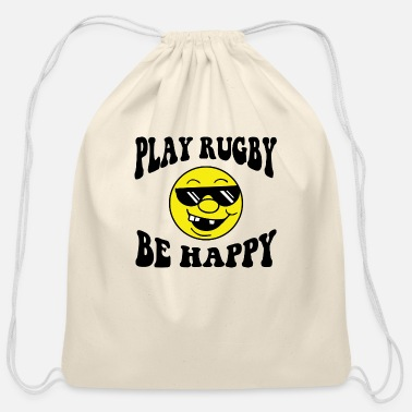 Play Rugby Rugby - Play Rugby Be Happy - Cotton Drawstring Bag