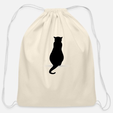 Silhouette Cat silhouette silhouettes - Cotton Drawstring Bag