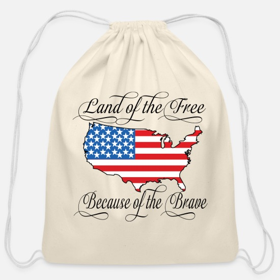 Day Bags & Backpacks - Land of the Free USA Flag - Cotton Drawstring Bag natural