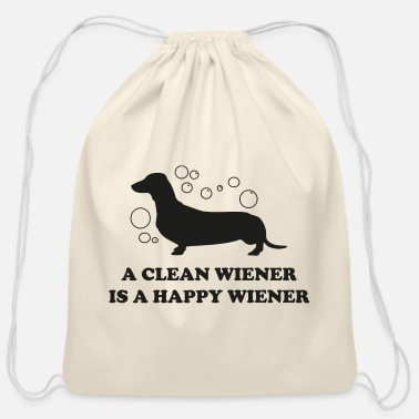Wiener A Clean Wiener Is A Happy Wiener - Cotton Drawstring Bag