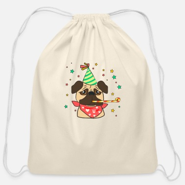 Birthday Party Classic pug with birthday accesories - Cotton Drawstring Bag