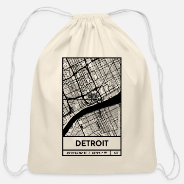 Detroit – City Map Plan (Retro) - Cotton Drawstring Bag