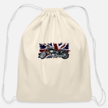 Kingdom UNION JACK FLAG & MOTORBIKE - Cotton Drawstring Bag