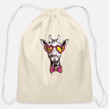 Hipster Hipster Giraffe - Cotton Drawstring Bag