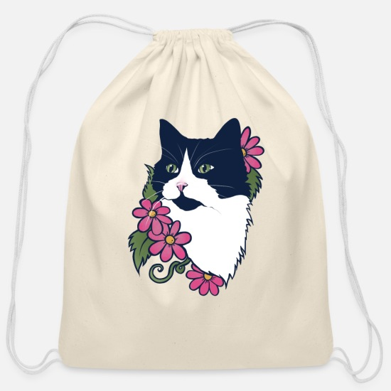 Floral Bags & Backpacks - Tuxedo Cat - Cotton Drawstring Bag natural
