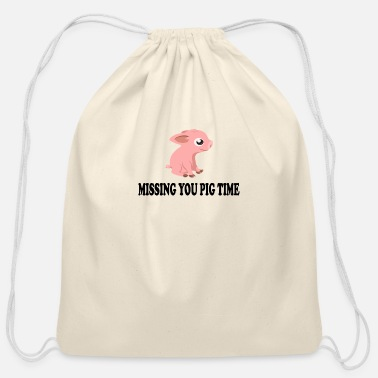 Sheep Missing You Big Pig Time - Cotton Drawstring Bag