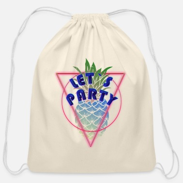 Pineapple Neon Party Pineapple Neon Ananas - Cotton Drawstring Bag