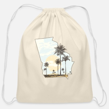 Georgia Palm Tree Beach Sunset State Outline - Cotton Drawstring Bag