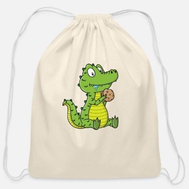 Tooth Cookie Crocodile - Cotton Drawstring Bag