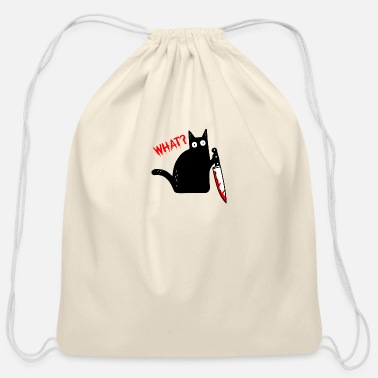 Knife Funny Murderous Cat What? Holding Knife Halloween - Cotton Drawstring Bag