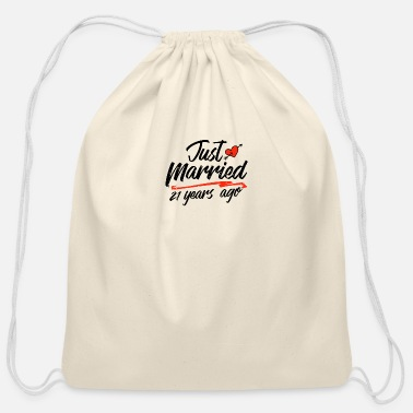 Paper Just Married 21 Year Ago Funny Wedding - Cotton Drawstring Bag