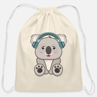 Cartoon Koala Music - Cotton Drawstring Bag
