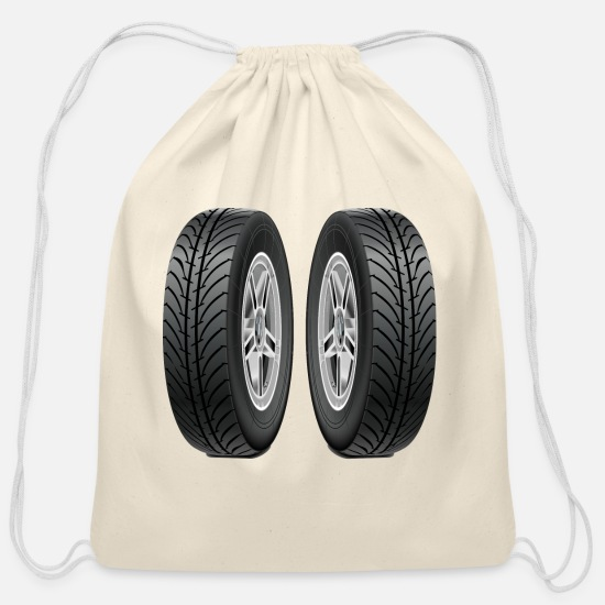Automobile Bags & Backpacks - Tires - Cotton Drawstring Bag natural