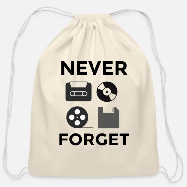 NEVER FORGET black - Cotton Drawstring Bag