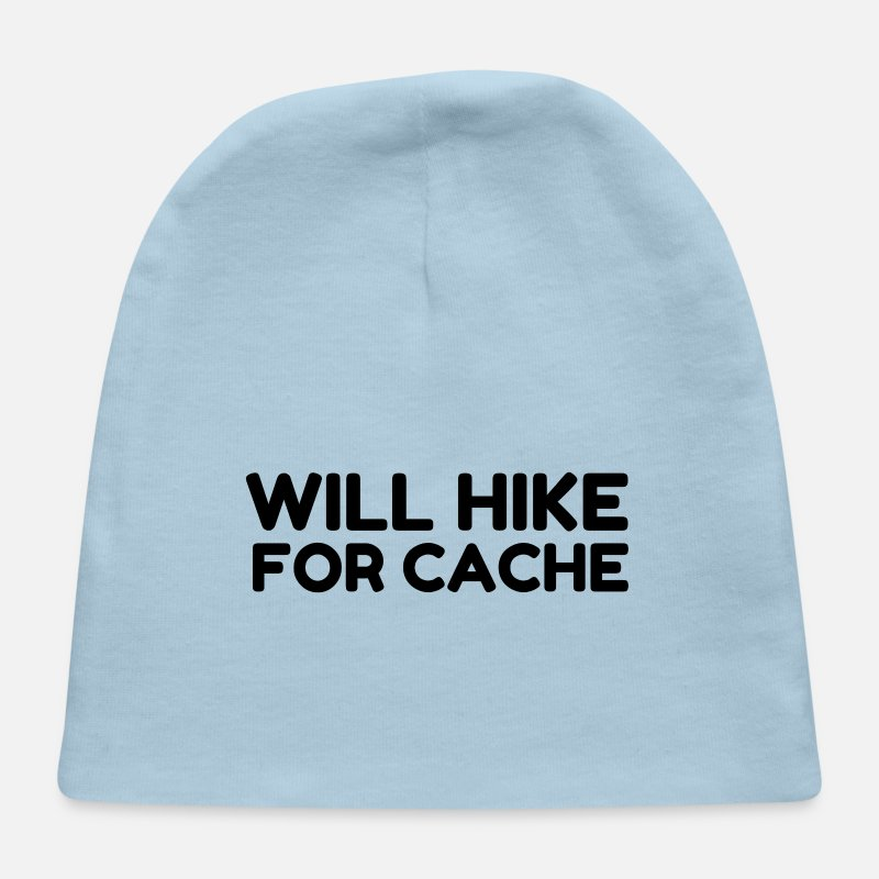 dfd3eafb371 Cache Baby Caps - Will Hike For Cache Geocaching - Baby Cap light blue