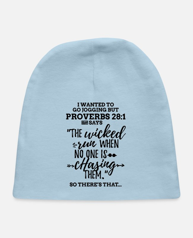 Runner Baby Hats - Black Proverbs 28 1 I Wanted to Go Jogging but Laz - Baby Cap light blue