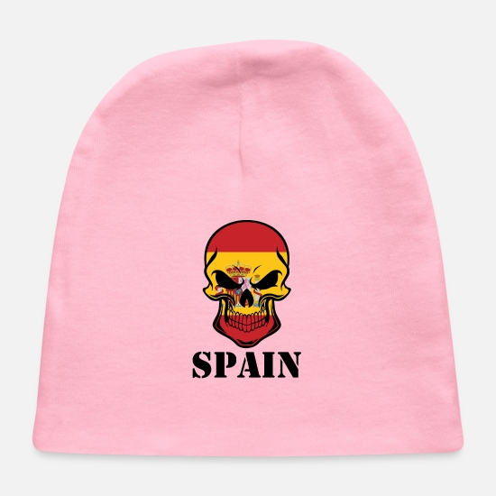 Country Baby Caps - Spanish Flag Skull Spain - Baby Cap light pink