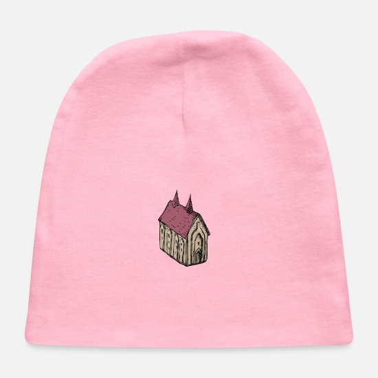 Middle Ages Baby Caps - Medieval Church Drawing - Baby Cap light pink