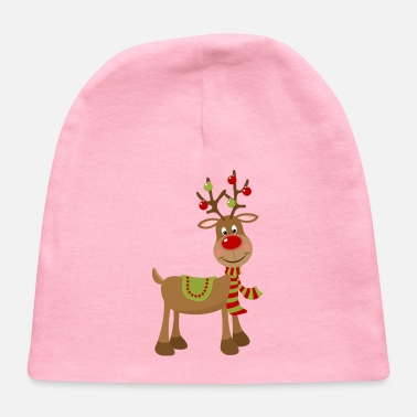 Reindeer CHRISTMAS REINDEER WITH ANTLER ORNAMENTS - Baby Cap