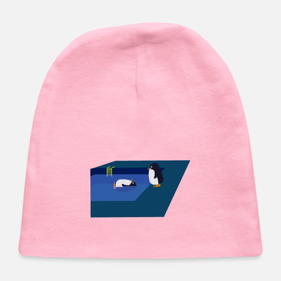 Gift Idea Baby Caps - Pool with Two Penguins Homage to famous art work - Baby Cap light pink