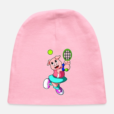 Birthday Girl Pig at Tennis with Tennis racket & Skirt - Baby Cap