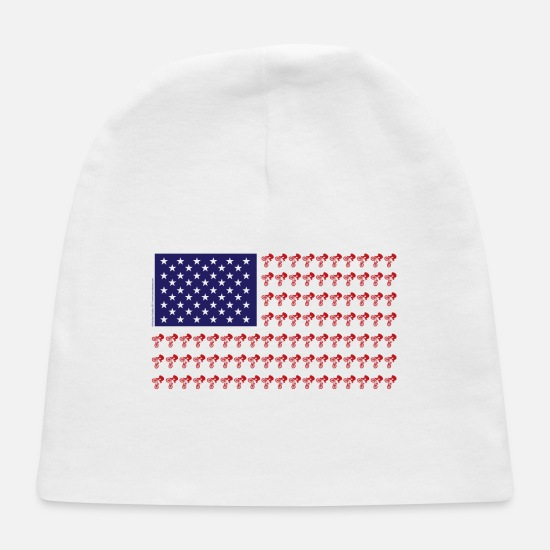 Patriot Baby Caps - Patriotic BMX Bikers - Baby Cap white