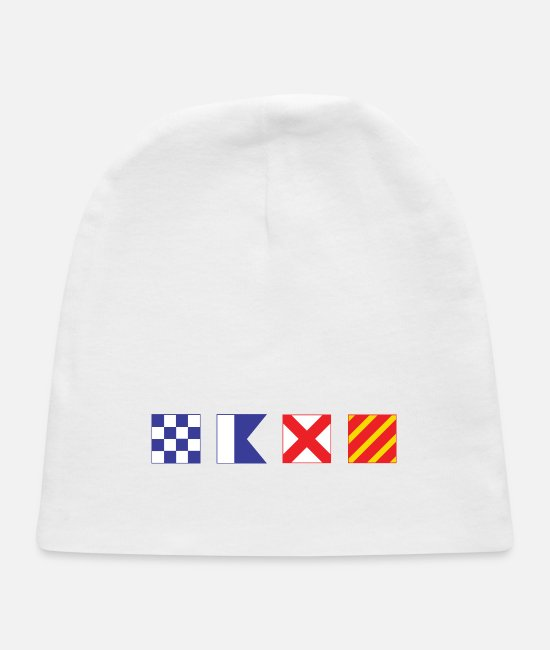 Honor Baby Hats - N - A - V - Y Spelled out in Signal Flags - Baby Cap white